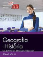 cos de professors d ensenyament secundari. geografia i història. temari vol. iii. 9788468168524
