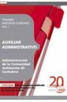 Inmaswan.es Auxiliar Administrativo De La Administracion De La Comunidad Auto Ma De Cantabria: Temario Materias Comunes Vol. I. Image