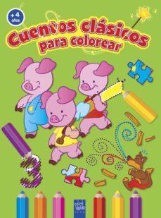 cuentos clasicos para colorear (+ 4 años) los tres cerditos-9788408037194