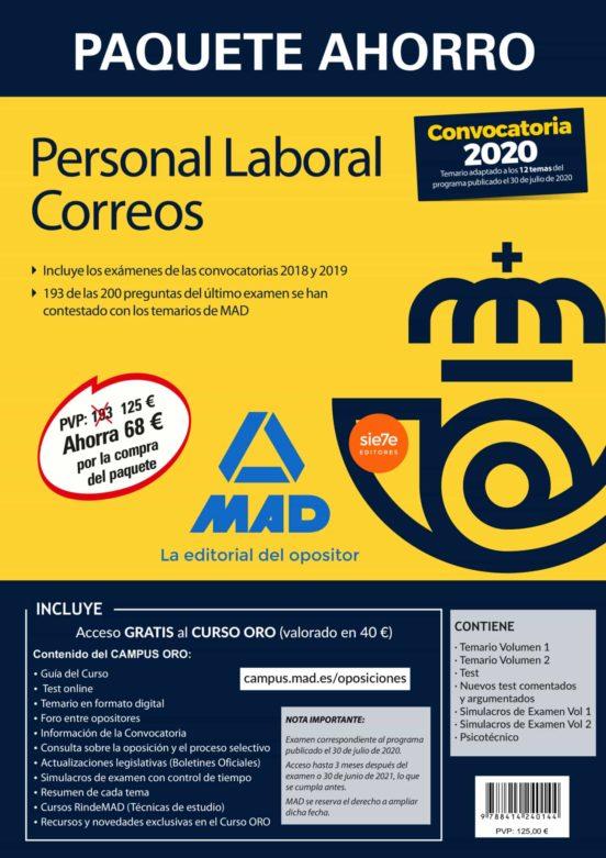 PAQUETE AHORRO PERSONAL LABORAL CORREOS 2020 (INCLUYE TEMARIOS 1 Y 2; TEST; NUEVOS TEST COMENTADOS Y ARGUMENTADOS; SIMULACROS DE EXAMEN 1 Y 2; PSICOTÉCNICO Y ACCESO A CURSO ORO)