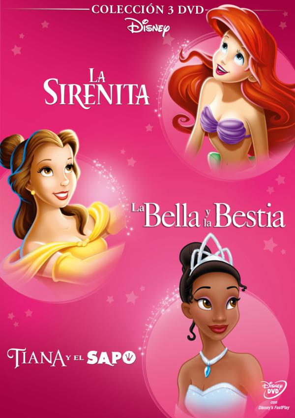 pack princesas rosa (sirenita+bella+tiana) (dvd)-8717418493240